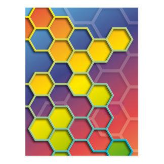 color graphic hexagon postcards