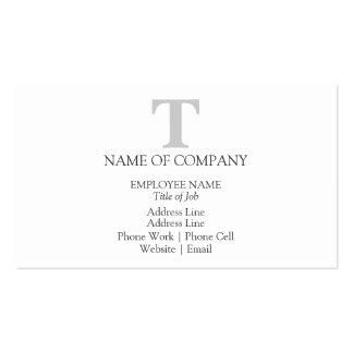 Color gris gris del monograma simple del diseñador tarjetas de visita