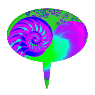 Color growth, nautilus shell cake pick