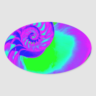 Color growth, nautilus shell oval sticker