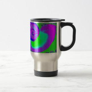 Color growth, nautilus shell travel mug