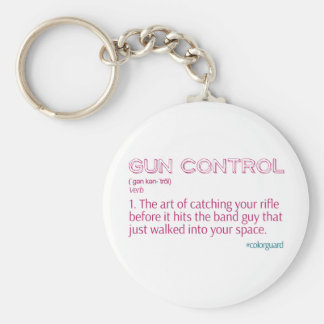"Color Guard Funny Rifle ""Gun Control"" Basic Round Button Keychain"