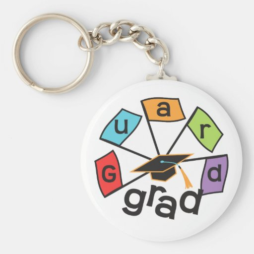 Color Guard Graduate - Graduation Colorful Flags Basic Round Button Keychain