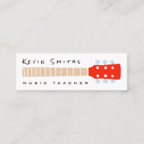 color guitar neck on white music teacher mini business card
