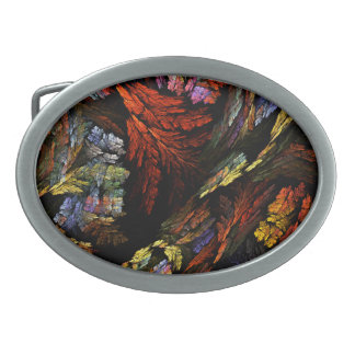 Color Harmony Abstract Art Oval Belt Buckle