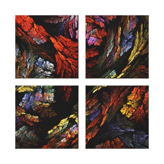 Color Harmony Abstract Art Quad Canvas Print
