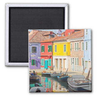 Color houses in Venice island Burano Italy 2 Inch Square Magnet