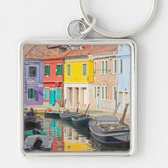 Color houses in Venice island Burano Italy Keychain