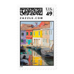 Color houses in Venice island Burano Italy Postage Stamp