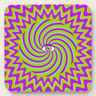 Color hypnotic retro poster with eye beverage coaster