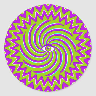 Color hypnotic retro poster with eye classic round sticker