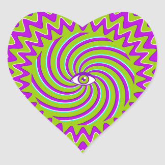 Color hypnotic retro poster with eye heart sticker