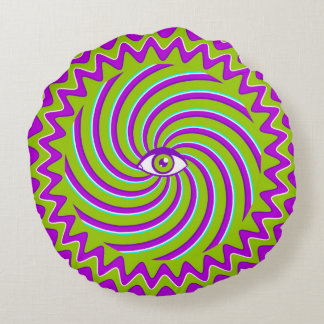Color hypnotic retro poster with eye round pillow