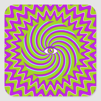 Color hypnotic retro poster with eye square sticker