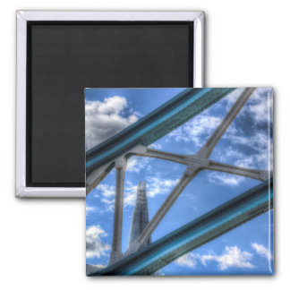 Color Image of the Shard Through the metalwork of Refrigerator Magnets