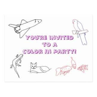 Color in Birthday Party invitations, postcards