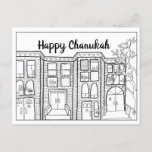 "Color-in Chanukah Postcards<br><div class=""desc"">Color and send this nostalgic Chanukah postcard! I illustrated this Hanukkah street scene featuring Brooklyn brownstone homes,  from my memories of visiting my grandmother to celebrate Chanukah with the family.</div>"