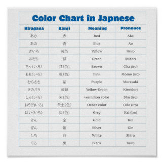 Color in Japanese Language Poster