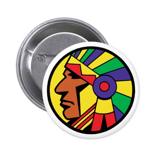 Color Indian Head 2 Inch Round Button
