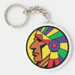 Color Indian Head Basic Round Button Keychain