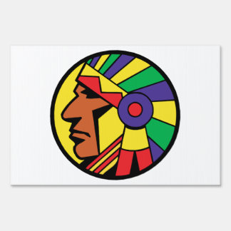 Color Indian Head Lawn Sign