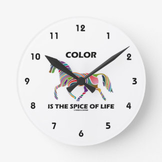 Color Is The Spice Of Life (Horse Color Swirl) Round Clock
