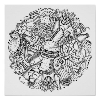 Color It Poster Fast Food Art