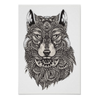 Color It Poster Wolf