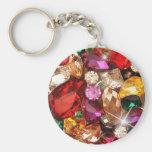 Color Jeweled de las gemas de la chispa de las joy Llavero Redondo Tipo Pin