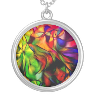 Color Kaleidoscope Fashion Silver Plated Necklace