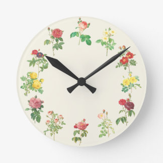Color lamentable floral del personalizado de los r reloj redondo mediano