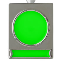 color lime silver plated banner ornament