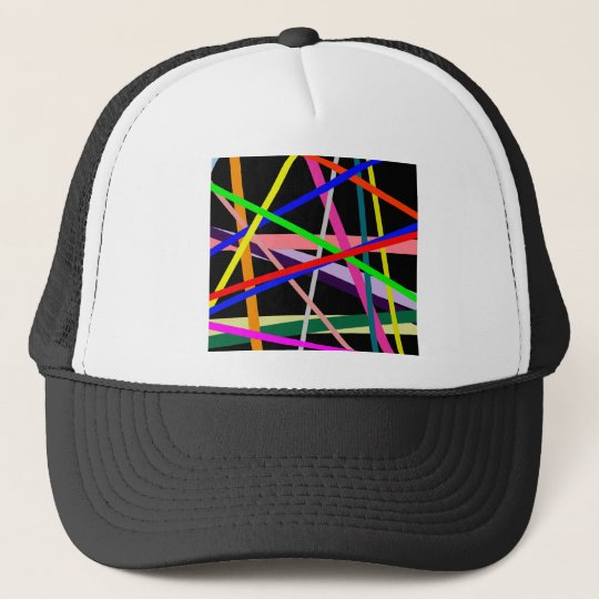 Color lines variety background on black trucker hat
