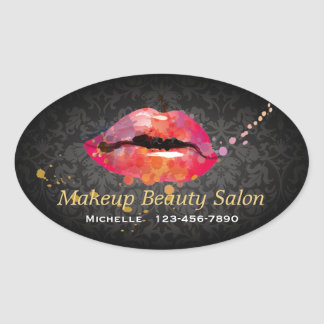 Color Lips Makeup Beauty Salon Business Sticker