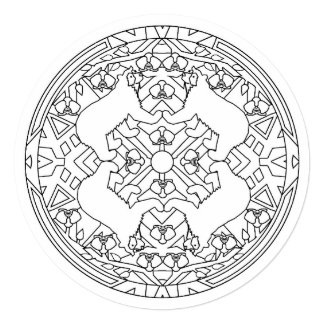 Color Mandala Art 5.25 x 5.25 Invitation Circle