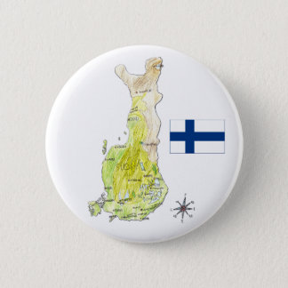 Color Map of Finland Drawing Badge Pin Button