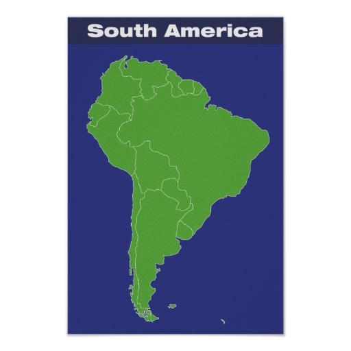 Color map of south america posters zazzle for What color is south america