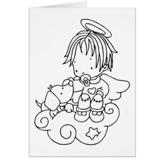 Color Me Angel Baby and Puppy Greeting Card