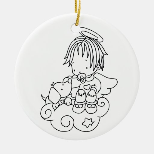 Color Me Angel Baby and Puppy Double-Sided Ceramic Round Christmas Ornament