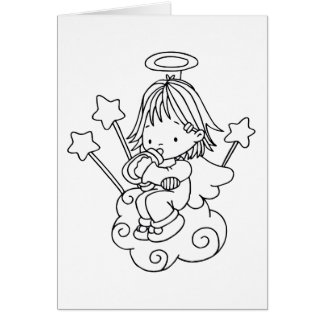 Color Me Angel Baby Bottle and Stars Greeting Card