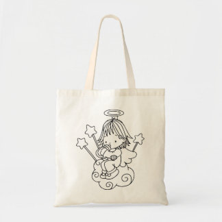 Color Me Angel Baby Bottle and Stars Tote Bag