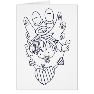 Color Me Angel Baby Heart String Greeting Card