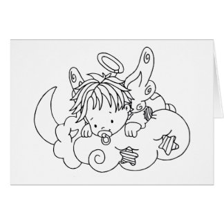 Color Me Angel Baby on Cloud Greeting Card