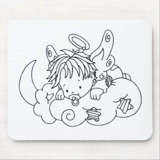 Color Me Angel Baby on Cloud Mouse Pads