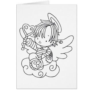 Color Me Angel Baby on Cloud with Heart Greeting Card