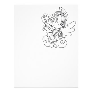 Color Me Angel Baby on Cloud with Heart Letterhead