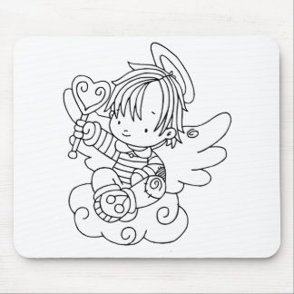 Color Me Angel Baby on Cloud with Heart Mouse Pad