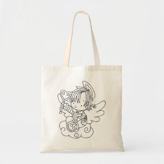 Color Me Angel Baby on Cloud with Heart Tote Bag
