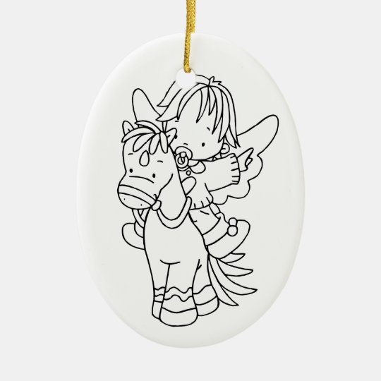 Color Me Angel Baby Pony I Can Fly Ceramic Ornament