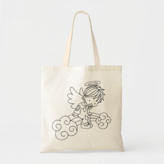 Color Me Angel Baby Sitting on Rainbow Budget Tote Bag